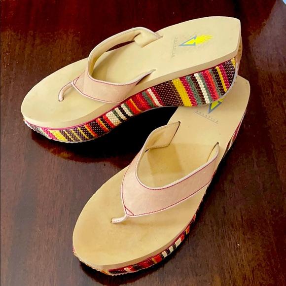 Volatile Leather Multicolored Striped Sandals